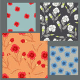 Summer pattern. Four summer patterns with red and blue poppy vector illustration