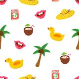 Summer pattern with hand drawn palm tree, hat, coconut juice, pink lips, passport. Tropical seamless pattern. Fashion. Design. Modern template for print, banner stock illustration