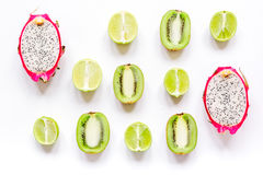 Summer pattern with kiwi and pitaya white background top view Royalty Free Stock Photography