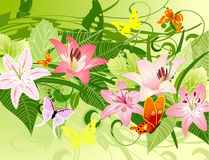 Summer pattern with lilies Royalty Free Stock Image