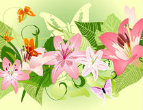 Summer pattern with lilies Royalty Free Stock Photography