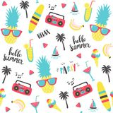 Summer pattern with pineapple, recorder and holiday elements. Royalty Free Stock Photos