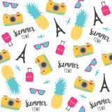 Summer pattern with pineapples, photo camera, Eiffel Tower. Vector illustration Stock Photo