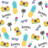 Summer pattern with pineapples, photo camera. Vector illustration Royalty Free Stock Image