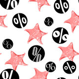 Summer pattern with pink starfish and percents. Flat style. Sale background. Vector Stock Images