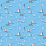 Summer pattern print sea. Summer pattern print people swimming in sea. Sea print men and women swim Stock Images