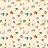 Summer pattern print sun, umbrella, slippers, ice cream, cocktail, camera Stock Images