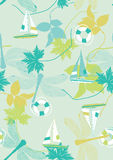 Summer Pattern with Sailing Boats and Dragonflies Royalty Free Stock Photos