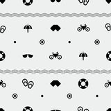 Summer pattern. Seamless, holiday  objects, minimalistic style Royalty Free Stock Photo
