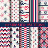 Summer pattern set. 10 different summer patterns, Swatches, vector, Endless texture can be used for wallpaper, pattern fills, web page,background,surface Royalty Free Stock Photo