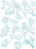 Summer pattern and sketch set Stock Image
