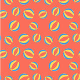 Summer pattern-2. Summer time beach ball cute seamless pattern random big and small balls with red, yellow, blue color for fun background, gift wrapping, textile Stock Photos