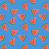 Summer pattern-1. Summer time fresh watermelon slices pattern with pink-red watermelon on bright blue color for background, gift wrapping, textile, scrapbook Royalty Free Stock Photography