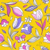 Summer pattern with tulips_1. Vector seamless pattern with flowers and butterflies.  You can use it for packaging design, textile design and scrapbooking Royalty Free Stock Photography