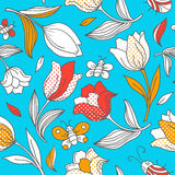 Summer pattern with tulips. Vector seamless pattern with flowers and butterflies.  You can use it for packaging design, textile design and scrapbooking Stock Photo