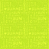 Summer pattern with volume letters on light green background Royalty Free Stock Photo