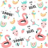 Summer pattern. Watermelon, flamingo and holiday elements. Royalty Free Stock Image