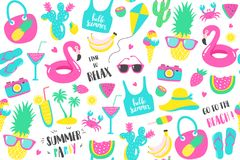 Summer pattern. Watermelon, pineapple and holiday elements. Royalty Free Stock Images