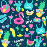 Summer pattern. Watermelon, pineapple and holiday elements. Stock Images