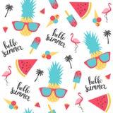 Summer pattern. Watermelon, pineapple. Vector illustration Royalty Free Stock Photography