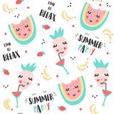 Summer pattern with watermelon, strawberry and banana Royalty Free Stock Photography