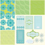 Summer patterns. Summer blue and green patterns and frame vector illustration