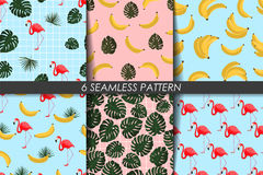 Summer patterns collection. Seamless texture. Vector. Trendy backgrounds. Fashion summer wallpaper. Set with banana, flamingo, greenery leaves Stock Photo