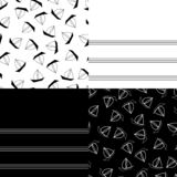 Summer patterns. Collection set of summer seamless pattern. marine sailboat on black and white background stock illustration