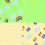 Summer patterns. Collection set of summer seamless pattern, summer pattern on a bright colored background stock illustration