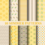 Summer patterns. 10 different summer patterns, Swatches, vector, Endless texture can be used for wallpaper, pattern fills, web page,background,surface Stock Image
