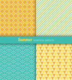 Summer patterns. Summer seamless patterns. Blue and yellow fabric Royalty Free Stock Images