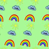 Summer patterns. Summer seamless pattern. cloud, sun and rainbow on a colored background royalty free illustration