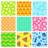 Summer patterns. Set of colorful seamless patterns for summer Royalty Free Stock Photos