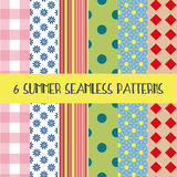 6 summer patterns. Set of six cartoon style summer seamless patterns. Typical symbols: sun, flower, strip, polka dot, rectangle.  Patchwork background in fresh Stock Photos