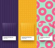 Summer patterns 001-003. Set of Trendy Seamless Geometric Patterns Stock Photo