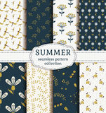 Summer Patterns. Vector Seamless Backgrounds. Royalty Free Stock Image