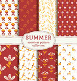 Summer patterns. Vector seamless backgrounds. Summer seamless patterns with flowers, plants and dragonflies. Set of cute nature textiles in red, orange and Royalty Free Stock Image