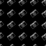 Summer patterns. Vector summer seamless pattern. photo camera on black background stock illustration