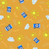 Summer patterns. Vector summer seamless pattern. photo camera on bright colorful background vector illustration