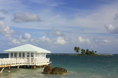 Summer pavilion at Las Galeras beach, Samana peninsula Royalty Free Stock Photography