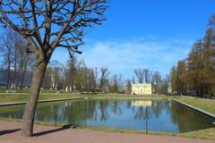 Summer pavilion on the shore of the Mirror Pond. Tsarskoye Selo, Russia. Stock Photo