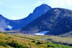 Summer Peaks in Chugach National Forest. Mountain peaks view on hiking trails above Anchorage, Alaska in the summer royalty free stock photo