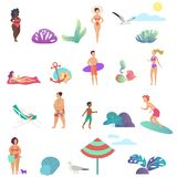 Summer people activity in the ocean beach icons set. Modern gradient flat design vector illustration. Summer people activity in the ocean beach icons set royalty free illustration