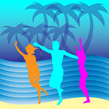 Summer people. Fun on the beach near the water Royalty Free Stock Images
