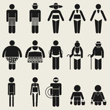 Summer people icon sign symbol pictogram Royalty Free Stock Images