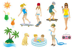 Summer people set Royalty Free Stock Photo