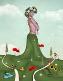 Summer personification. Beautiful woman with digital paint meadow like personification of summer nature and respect for nature Stock Photos