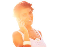 Summer phone conversation Stock Images