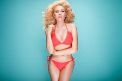 Summer photo of beautiful blonde girl. Stock Photo