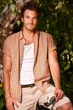 Summer photo of handsome man. Summer photo of handsome young man smiling Royalty Free Stock Photo